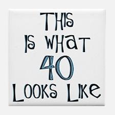 40th birthday, 40 looks like this Tile Coaster