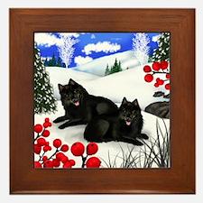 SCHIPPERKE DOGS WINTER BERRIES Framed Tile