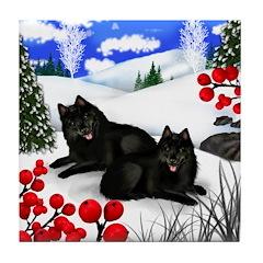 SCHIPPERKE DOGS WINTER BERRIES Tile Coaster