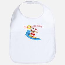 Hawaiian Christmas Surfing Santa T-shirt Bib