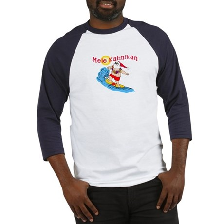 Hawaiian Christmas Surfing Santa T-shirt Baseball