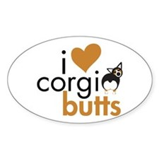 I Heart Corgi Butts - BHT Oval Decal