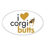 I Heart Corgi Butts - Sable Oval Sticker (50 pk)