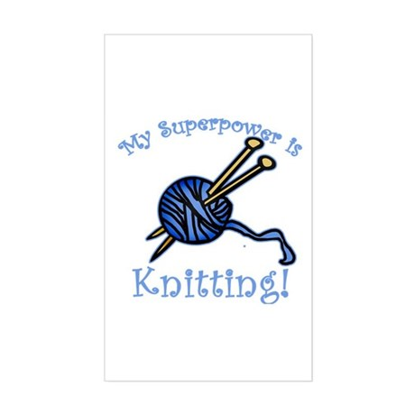 My Superpower is Knitting Rectangle Sticker