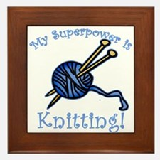 My Superpower is Knitting Framed Tile
