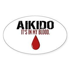 In My Blood (Aikido) Oval Sticker (50 pk)