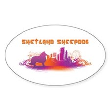 """City"" Shetland Sheepdog Oval Decal"