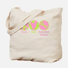 Peace, Love, Scissors Tote Bag