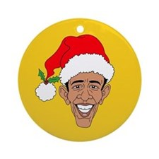 Obama Claus Gold Ornament (Round)