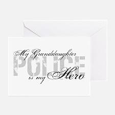 My Granddaughter is My Hero - POLICE Greeting Card