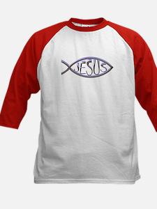 SILVER JESUS FISH Kids Baseball Jersey
