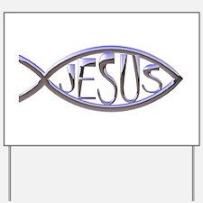 SILVER JESUS FISH Yard Sign