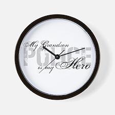 My Grandson is My Hero - POLICE Wall Clock