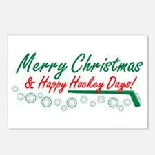 Christmas hockey days Postcards (Package of 8)