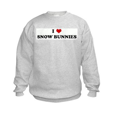 I Love SNOW BUNNIES Kids Sweatshirt