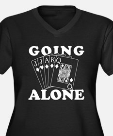 Euchre Going Alone/Loner Women's Plus Size V-Neck