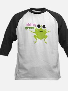 "Cute Frog & ""Think Green"" Kids Baseball Jersey"