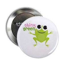 """Cute Frog & """"Think Green"""" 2.25"""" Button"""
