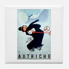 Austria Skiing Skier Tile Coaster
