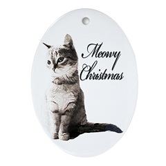 Meowy Christmas Oval Ornament