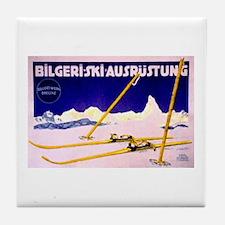 Bavarian Alps Skiing Tile Coaster