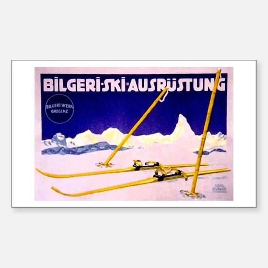 Bavarian Alps Skiing Rectangle Decal