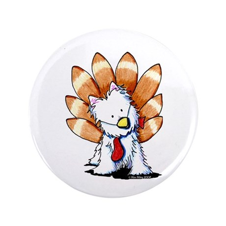 "Thankful Turkey Westie 3.5"" Button (100 pack)"