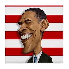 Barack Obama Caricature Tile Coaster
