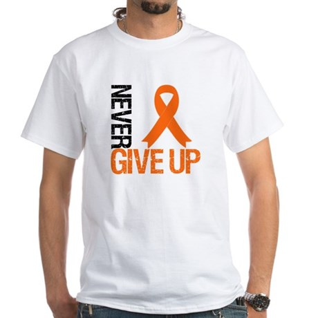 NeverGiveUp OrangeRibbon White T-Shirt