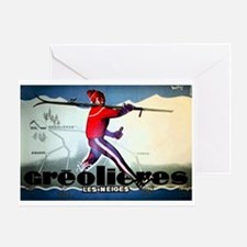 French Alps Skiing Greeting Card