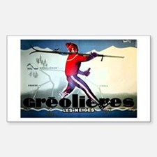 French Alps Skiing Rectangle Decal