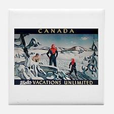 Ski Skiing Canada Tile Coaster