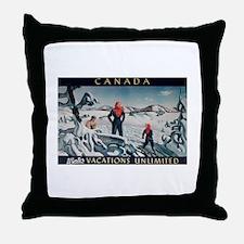 Ski Skiing Canada Throw Pillow