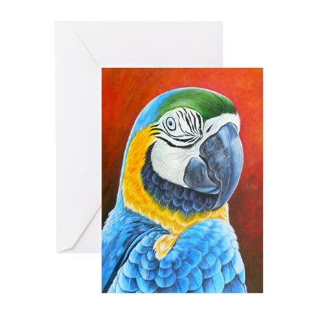 Macaw Blue and Yellow Greeting Cards (Pk of 20)