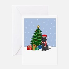 Curly Coat Howling Holiday Greeting Card