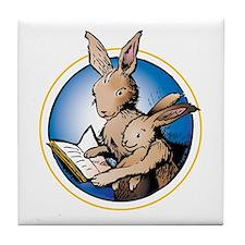 Reading Bunnies Tile Coaster