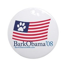 Bark Obama US flag Ornament (Round)