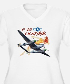 WWII P-38 airplane Women Plus Size V-Neck T-Shirt