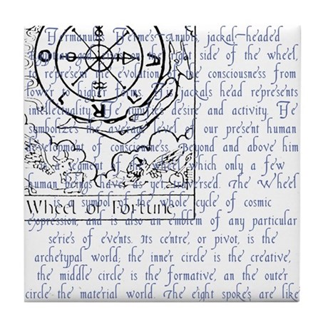 Tarot Key 10 - Wheel of Fortune Tile Coaster