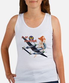 WWII P-38 airplane and pinup Women's Tank Top