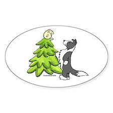 Border Collie Christmas Oval Decal