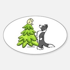 Border Collie Christmas Oval Decal