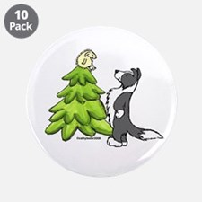 """Border Collie Christmas 3.5"""" Button (10 pack)"""