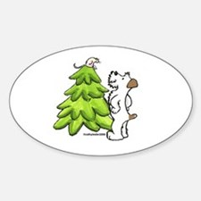 Jack Russell Christmas Oval Decal