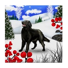 FLAT COATED RETRIEVER DOG WINTER Tile Coaster