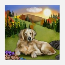 GOLDEN RETRIEVER DOG FALL SUNSET Tile Coaster