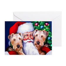 Santa's Airedales Christmas Greeting Card
