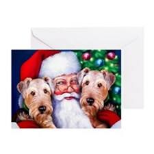 Santa's Airedales Christmas Greeting Cards (Pk of