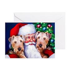 Santa's Airedales Christmas Greeting Cards (Pk of