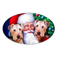 Santa's Airedales Christmas Oval Decal